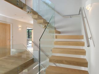 Free Standing Glass and timber stairs:  Corridor & hallway by Sarum Glass Ltd
