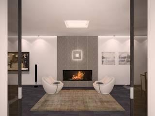Загородный жилой дом 380 м2: Гостиная в . Автор – KARYADESIGN architecture studio, Минимализм