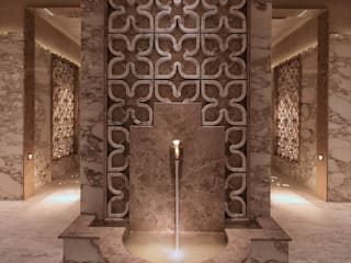 Drummonds Case Study: Urban Retreat Hammam at Harrods 지중해 스타일 쇼핑 센터 by Drummonds Bathrooms 지중해