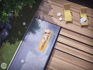 piscina e deck - casa SP: Jardins  por studio vtx