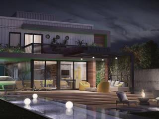 fachada posterior - casa SP: Casas  por studio vtx