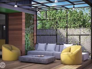 estar externo - casa SP: Jardins  por studio vtx,Industrial