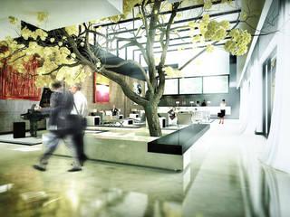 Agorà Mediterranea: Mostra 2.0. Rifunzionalizzazione della Mostra d'Oltremare di Napoli + nuovo albergo/spa 4 stelle: Ingresso & Corridoio in stile  di vosa napolano architetti