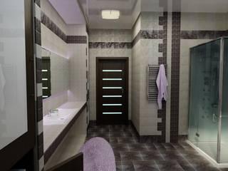 Дизайн ванной комнаты и туалета в частном доме г. Новоалександровск.: Ванные комнаты в . Автор – Цунёв_Дизайн. Студия интерьерных решений.