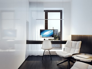 BB APARTAMENT Minimalistyczne domowe biuro i gabinet od KUOO ARCHITECTS Minimalistyczny