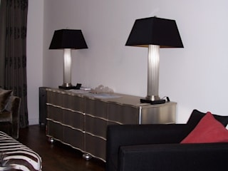 Black tapered square laminated silk lampshades:   by A Shade Above