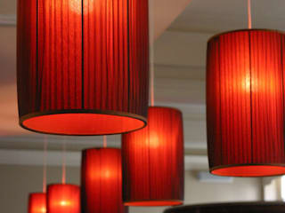 Knife-pleated red chiffon drum pendant lampshades Modern gastronomy by A Shade Above Modern