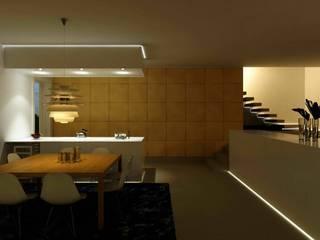 lo spazio open.... appena arriva la sera..... : Cucina in stile in stile Moderno di studio di progettazioni DARCHIMIRE