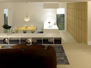 dall'area relax... si è in relazione sempre con tutti gli altri ambienti : Soggiorno in stile in stile Moderno di studio di progettazioni DARCHIMIRE