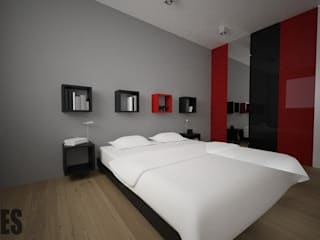 OES architekci Modern style bedroom