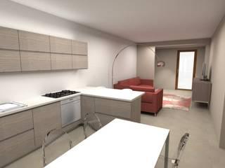 Rendering della stessa zona giorno al grezzo con una soluzione d'arredo ottimale : Soggiorno in stile  di Home & Hotel Staging