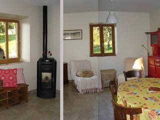 Rénovation d'une maison traditionnelle à colonnes à Jarrier (73) Salle à manger moderne par Marie GAMELON-VIALLET architecte Moderne