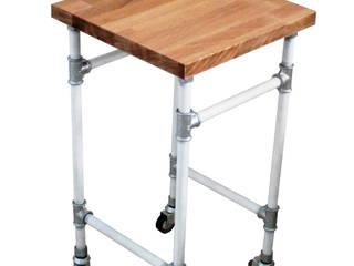 Mobilny stolik nocny z rur ocynkowanych oraz drewnianego blatu.: styl , w kategorii  zaprojektowany przez Wooow! projekt