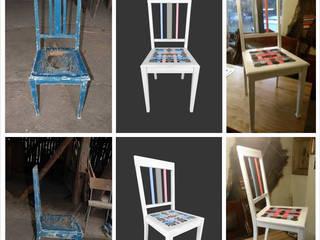 Krzesło z kolorowymi pasami.: styl , w kategorii  zaprojektowany przez Wooow! projekt