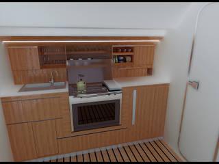 """Progetto di Dinette, Zona Carteggio e cucina per barca a vela 43"""" , l'attuale Moro Di Venezia XXVII di Roberta Rose"""