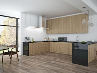 Black American Walnut & Open Plan Living by The Wood Galleries Minimalistyczna kuchnia od The Wood Galleries Minimalistyczny
