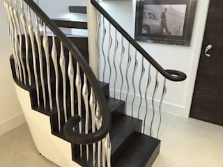 Poole Staircase and Sculptural balustrade Modern corridor, hallway & stairs by Zigzag Design Studio (Sculptural Structures) Modern