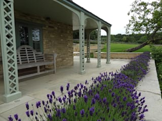 Somerset Farmhouse - Front terrace looking down:  Terrace by Laurence Maunder Garden Design & Consultancy