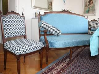 Azurblau trifft Karo : klassische Esszimmer von   An Sichten | Möbeldesign mit Ressourcen