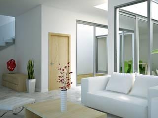 Casa a patio: Soggiorno in stile  di Studio Piraf