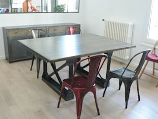 table Eiffel et bahut sur mesure en métal et bois massif:  de style  par Douceur Brute