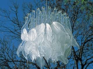 Leaves Chandelier:  Dining room by Neil Wilkin Bespoke chandeliers & Glass Sculpture