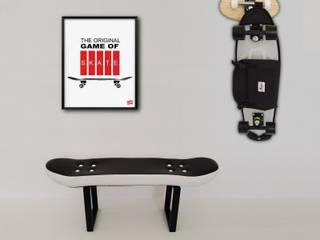 Skateboard Fackie Pressure stool, Crooked coat rack and Game of skate Illustration skate-home HogarAccesorios y decoración