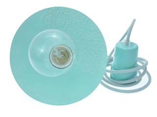 Lampa Loft z Folkiem barok pastelowy błękit od Inżynieria Designu Industrialny