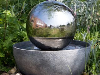 Eclipse Stainless Steel Sphere Water Feature:   by Primrose