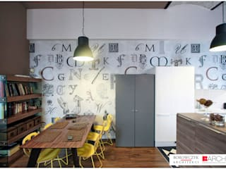 Industrial style dining room by Borowczyk Architekci Industrial