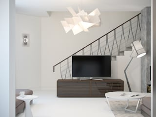 White & Black Design Studio Livings de estilo moderno