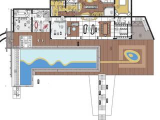 Вариант 1 планировочного и дизайнерского решения плана здания и бассейна: Бассейн в . Автор – Архитектурное бюро Лены Гординой