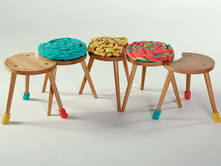 Family of Upholstered Milking Stools :   by Jane Crisp Bespoke Designer Maker