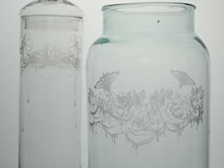 Dripping Roses Jar & Daisy Orchid Garland Bonbon Jar:   by Sara Newman Design