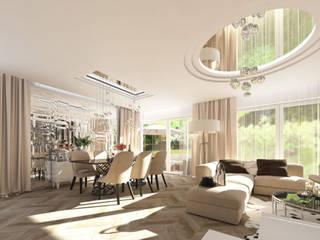 LUXURIOUS STYLE – WILLA W JAROSZOWEJ WOLI 180 m2 Nowoczesna jadalnia od TISSU Architecture Nowoczesny