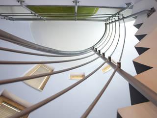 Particolare della scala vista dal basso: Ingresso & Corridoio in stile  di A+2i PROJECT TEAM - ARCHITETTURA E AMBIENTE