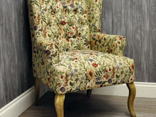 English Flowers Traditional Button Back Wing Chair:   by Acacia Home