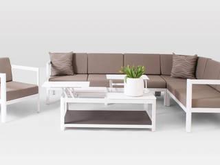 Aurora Garten Loungeset weiss Aluminium : moderner Garten von Oltre-Garden