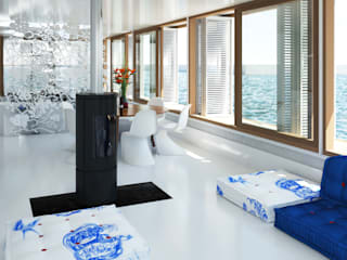 Pied a L' eau Moderne woonkamers van M&M Watervilla Modern