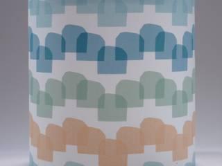 Handmade lampshade - Houses Pink - original textile design:   by Anna Dent Studio