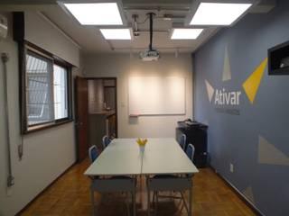 Interiores de consultoria de RH Arketing Identidade e Ambiente Salas multimídia ecléticas