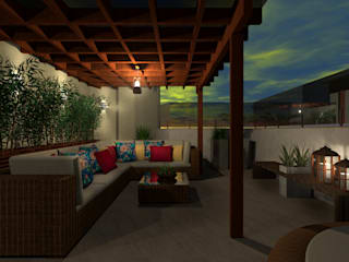 Gazebo Cobertura - RJ. Konverto Interiores + Arquitetura Varandas, alpendres e terraços tropicais