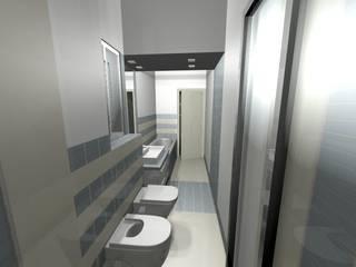 il bagno sui toni del grigio: Bagno in stile  di Antonella Liguori Architetto