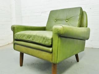 1960s green leather armchair :   by Archive Furniture