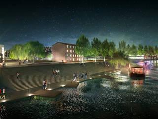 Barge and nocturnal walk on the Saône river dock in summer Lieux d'événements minimalistes par Pepindebanane Minimaliste