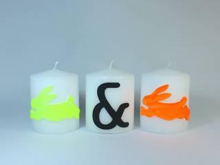 Osterkerzen Set-Nr.308 - Neon-farbene Hasen auf weißer Kerze:   von Bastelsepp