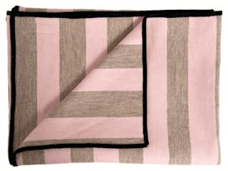 Marshall Stripe Throw - Pink on Mushroom:   by Luku Home