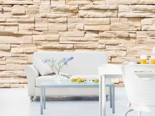 Steinwand Fototapeten | Steintapete | Stone wall von Bilderwelten Landhaus