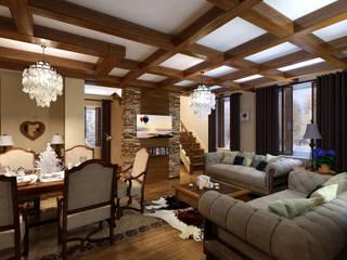 домик в стиле шале Гостиная в стиле кантри от Дизайн студия Асфандияровой Лилии Кантри