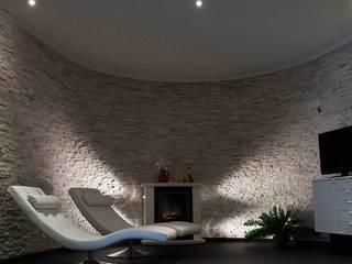 Natuursteenstrips in villa:  Spa door Xcel Stones, Modern